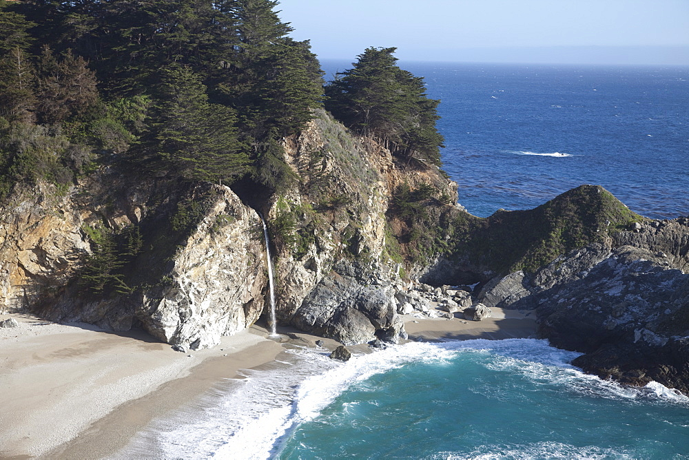 Waterfall and beach at Julia Pfeiffer Burns State Park, near Big Sur, California, United States of America, North America - 825-242