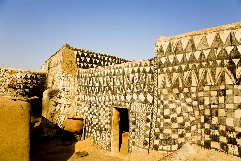 Painted mud house in Tangassogo Village, near the border of Ghana, Burkina Faso, West Africa, Africa