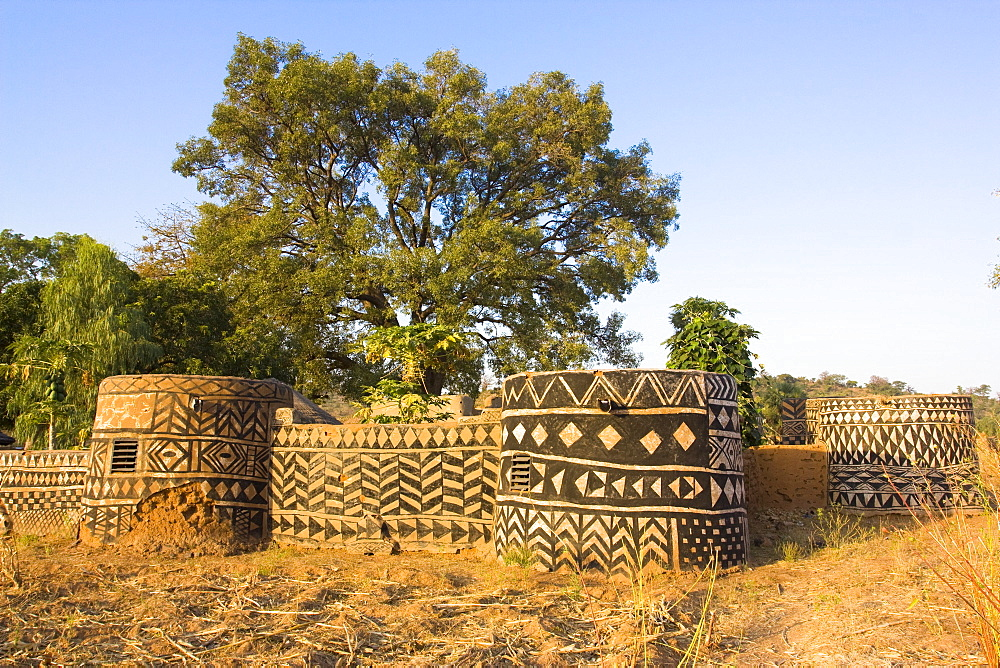 Geometric designs painted on traditional houses in small village in Tiebele area of Burkina Faso, West Africa, Africa
