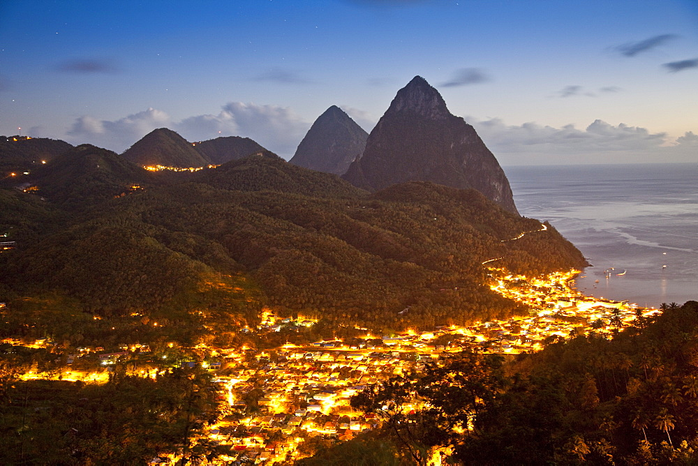 The Pitons and Soufriere at night, St. Lucia, Windward Islands, West Indies, Caribbean, Central America - 825-92