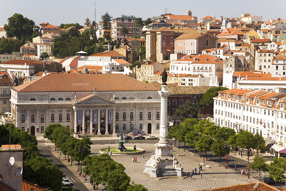 The National Theatre (Teatro Nacional Dona Maria II) stands behind the memorial to Dom Pedro IV at Rossio, Lisbon, Portugal, Europe