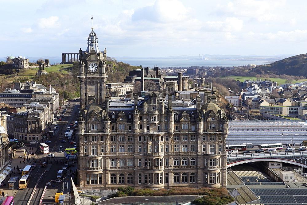 The Balmoral Hotel stands next to Waverly Railway Station on Princes Street in Edinburgh, Scotland, United Kingdom, Europe