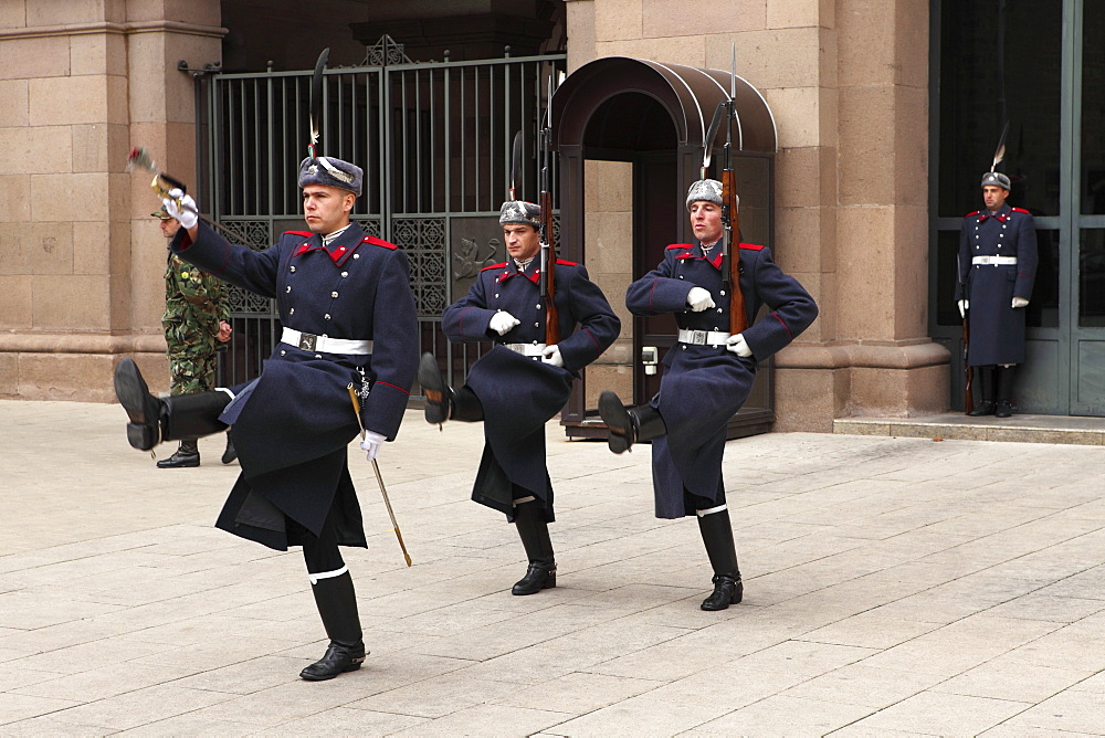 Soldiers participate in the ceremonial changing of the guards at the Presidential Palace, Sofia, Bulgaria, Europe
