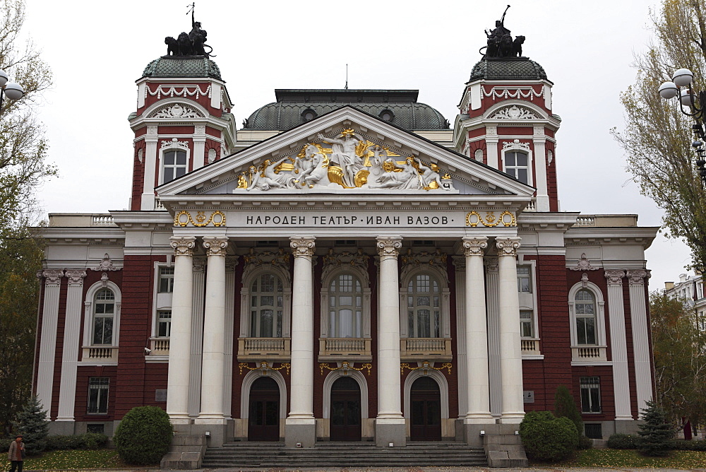 The Ivan Vazov National Theatre, a Neo-Classical building designed by Hermann Helmer and Ferdinand Fellner, Sofia, Bulgaria, Europe