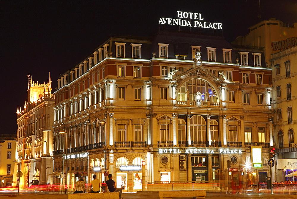 The Hotel Avenida Palace, at night, on the Avenida de Liberdade, at Restauradores Square, Baixa, Lisbon, Portugal, Europe