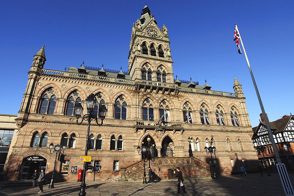 The Victorian Gothic Revival style town hall, designed by William Henry Lynn and opened in 1869, in Chester, Cheshire, England, United Kingdom, Europe