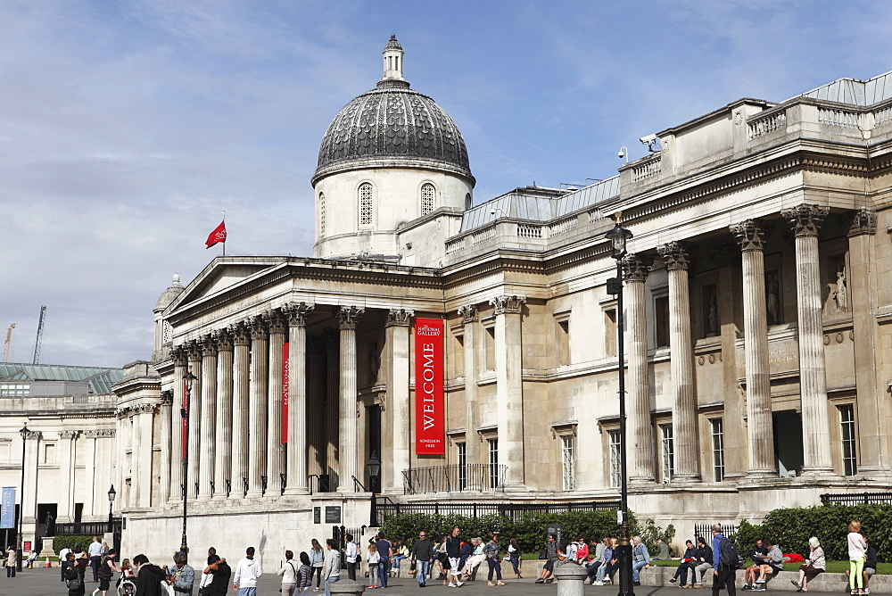 The National Gallery, the art museum on Trafalgar Square, London, England, United Kingdom, Europe - 826-586