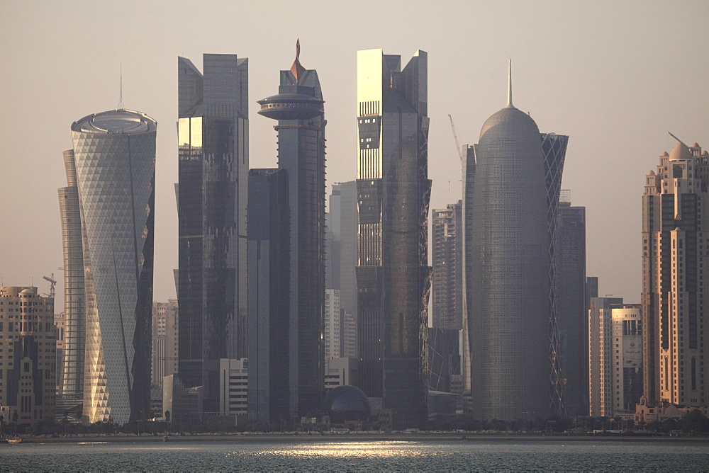 Modern skyscrapers in the West Bay financial district of Doha, Qatar, Middle East - 826-588
