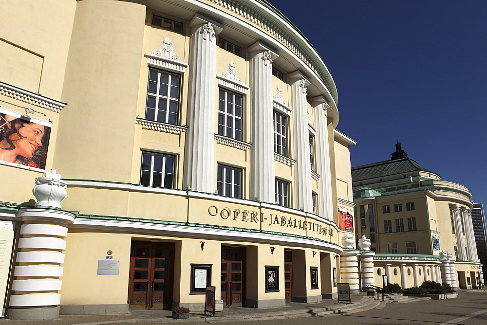 The facade of the Estonian National Opera house, opened in 1913 and rebuilt following Soviet destruction, in Tallinn, Estonia, Europe