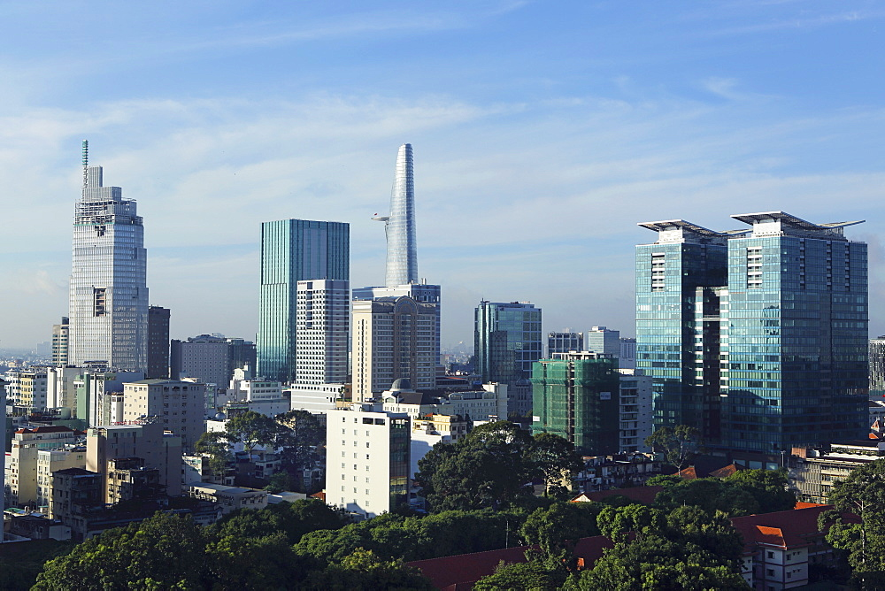 The skyline of the downtown area, including the Bitexco Tower, Ho Chi Minh City (Saigon), Vietnam, Indochina, Southeast Asia, Asia - 826-607