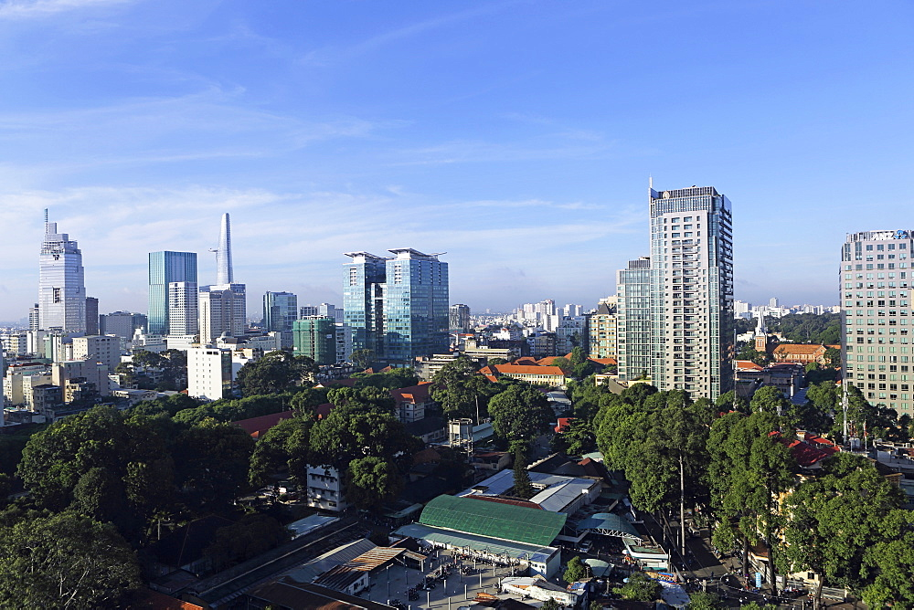 The skyline of the downtown area, including the Bitexco Tower, Ho Chi Minh City (Saigon), Vietnam, Indochina, Southeast Asia, Asia