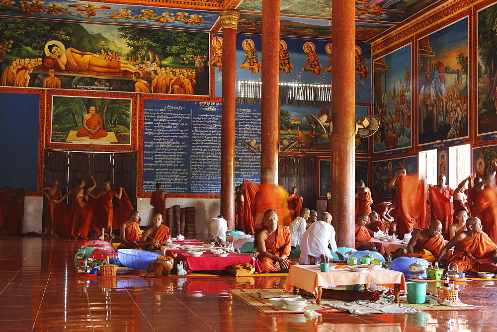 Ornately painted dining hall at Udon Monastery (Vipassana Dhura Buddhist Centre) at Phnom Udon, Udong, Cambodia, Indochina, Southeast Asia, Asia - 826-614