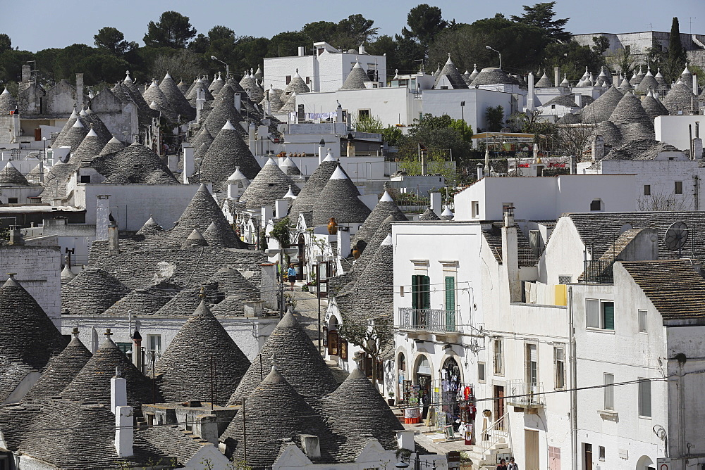 Cone-roofed trulli houses on the Rione Monte district, UNESCO World Heritage Site, Alberobello, Apulia, Italy, Europe - 826-627