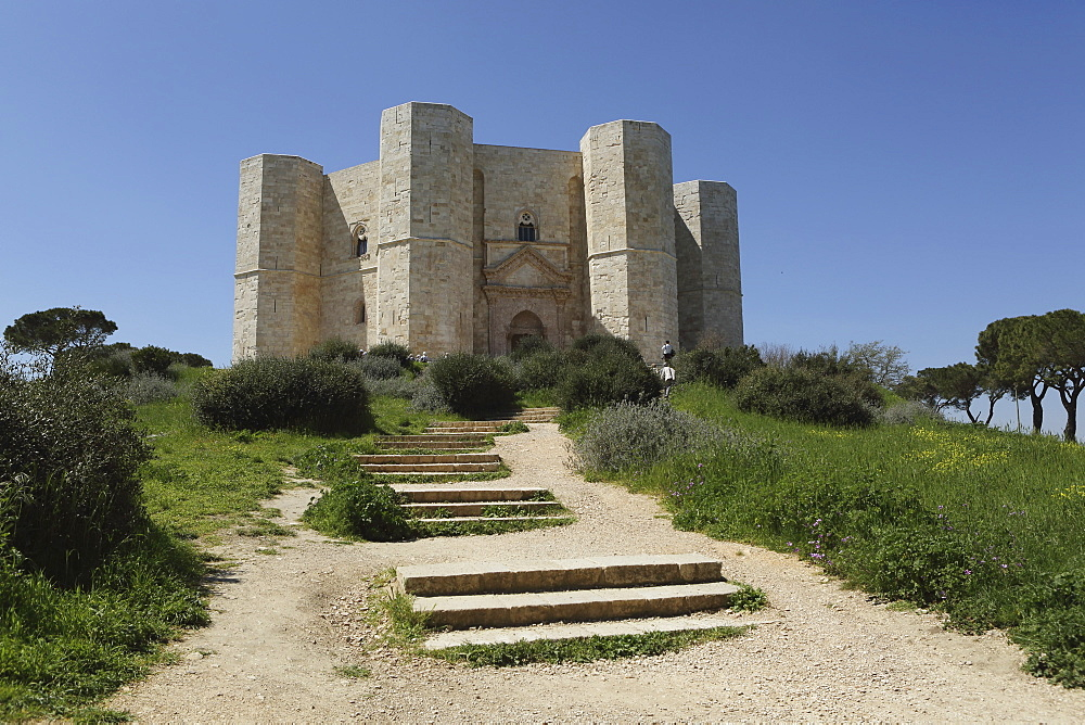 Castel del Monte, octagonal castle, built for Emperor Frederick II in the 1240s, UNESCO World Heritage Site, Apulia, Italy, Europe - 826-629