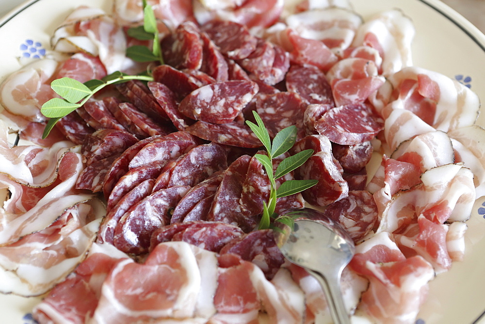 Regional Capocollo (capicola) ham surrounds salami produced in Martina Franca, Apulia, Italy, Europe - 826-632