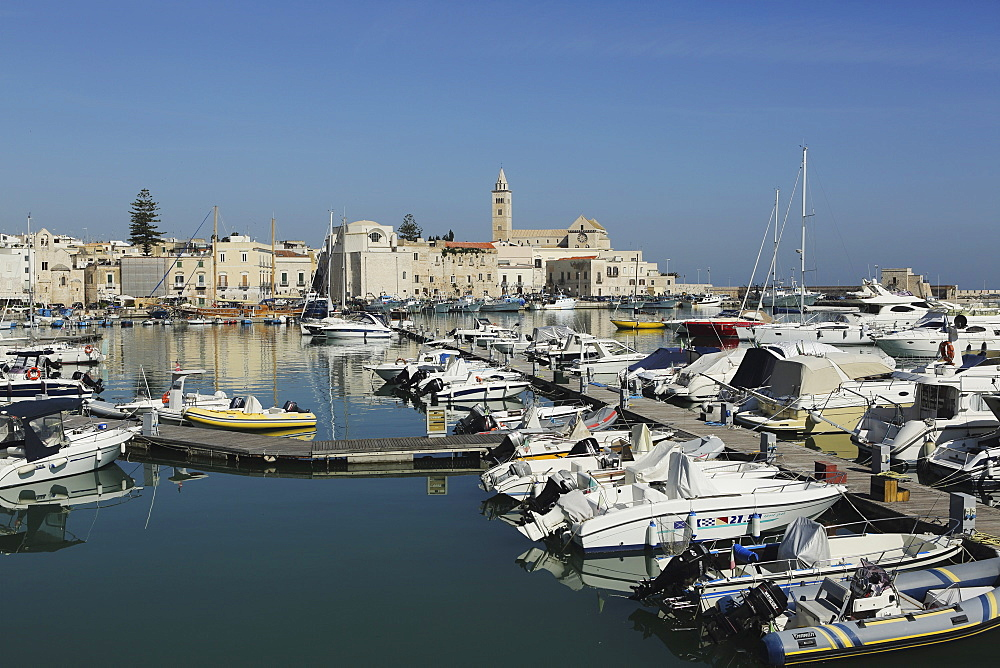 Boats in the harbour by the cathedral of St. Nicholas the Pilgrim (San Nicola Pellegrino) in Trani, Apulia, Italy, Europe - 826-645