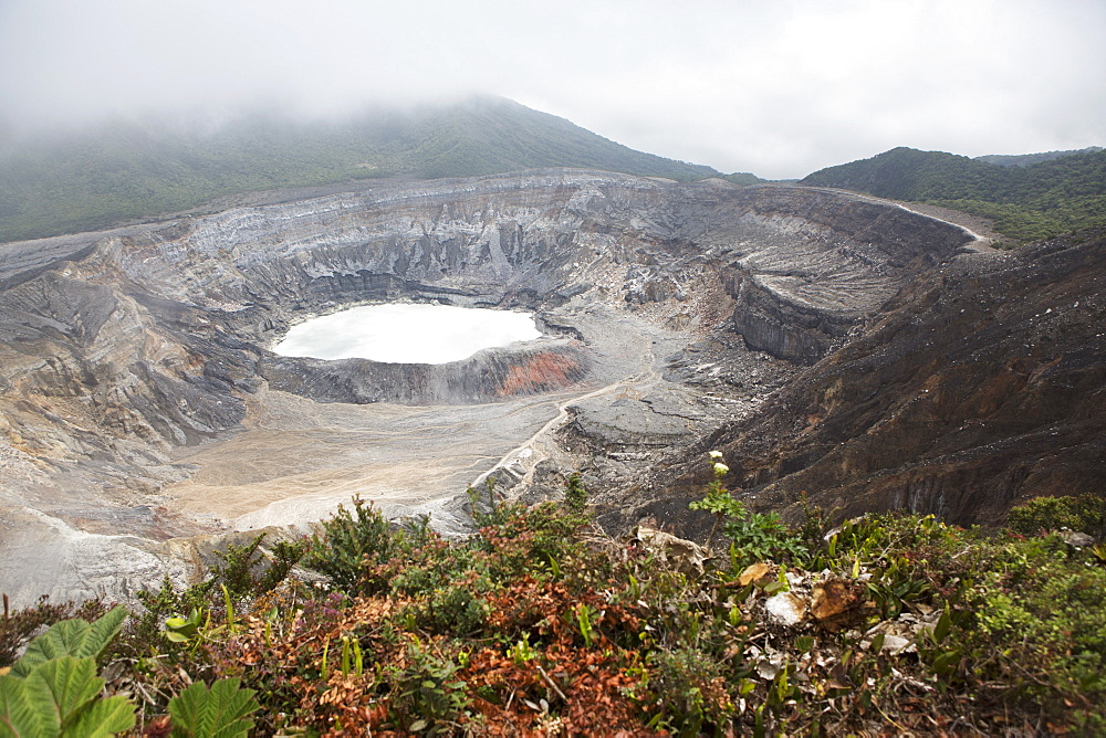 Crater of Poas Volcano in Poas Volcano National Park, in the Cordillera Central mountain range of Costa Rica, Central America