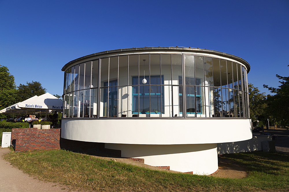The semi-circular balcony of the Kornhaus restaurant, designed by Carl Feiger of the Bauhaus, in Dessau, Saxony Anhalt, Germany, Europe