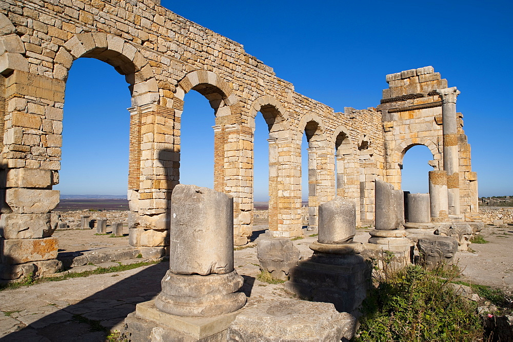 Ruins of the Roman city of Volubilis, UNESCO World Heritage Site, Morocco, North Africa, Africa