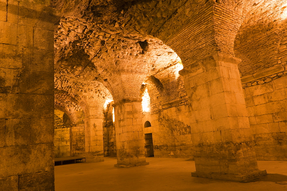 Basement halls, Diocletian's Palace, UNESCO World Heritage Site, Split, region of Dalmatia, Croatia, Europe - 827-355