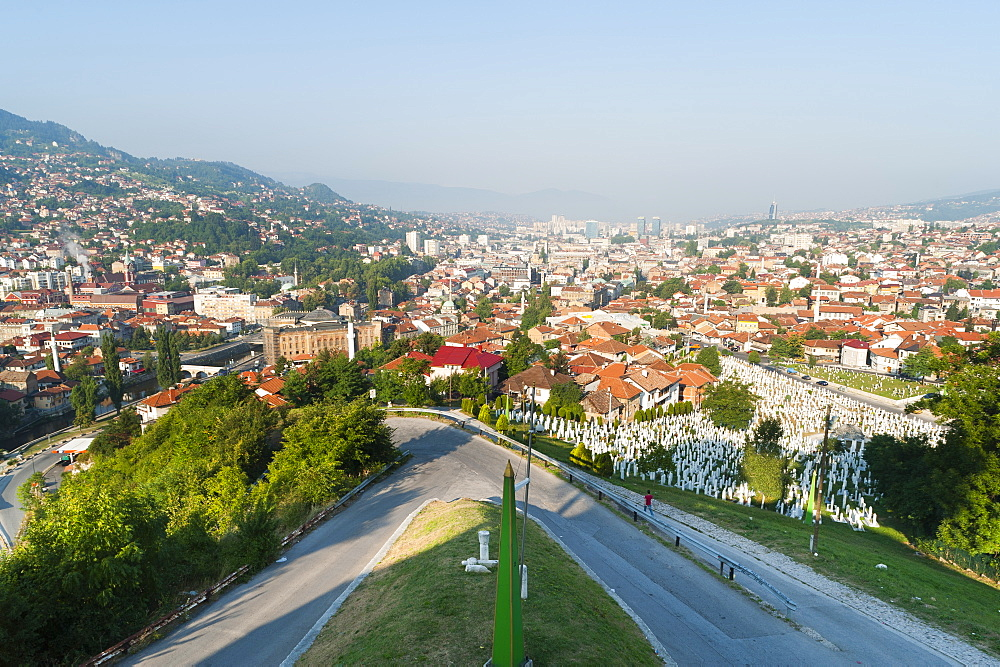 View of Sarajevo from Yellow Bastion, Sarajevo, Bosnia and Herzegovina, Europe - 827-448