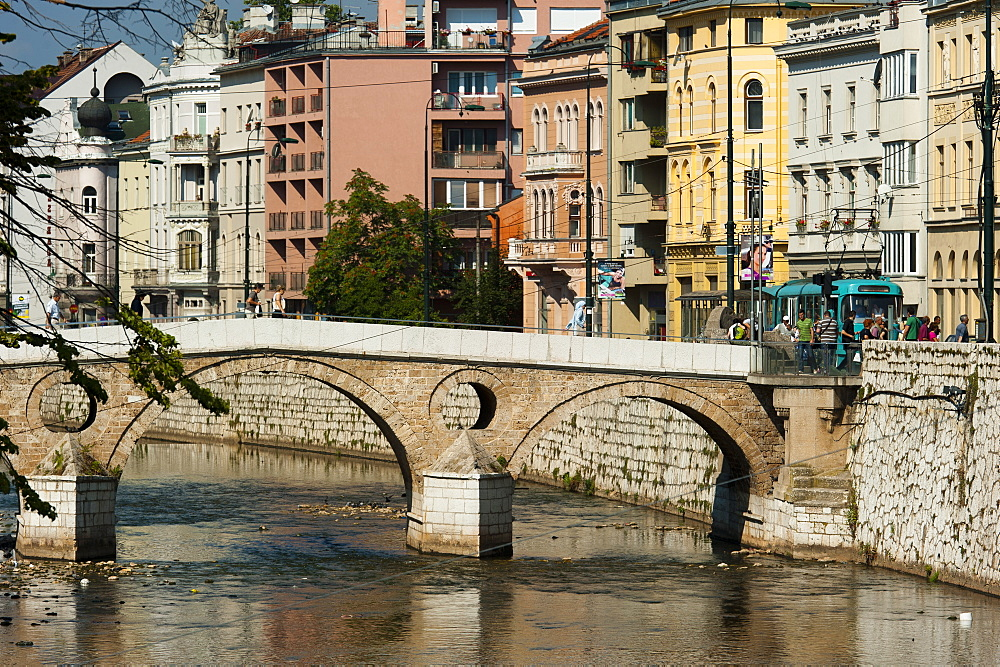 Latinska Cuprija (Latin Bridge) over Miljacka River, place of murder of Archduke Ferdinand, Sarajevo, Bosnia and Herzegovina, Europe - 827-468
