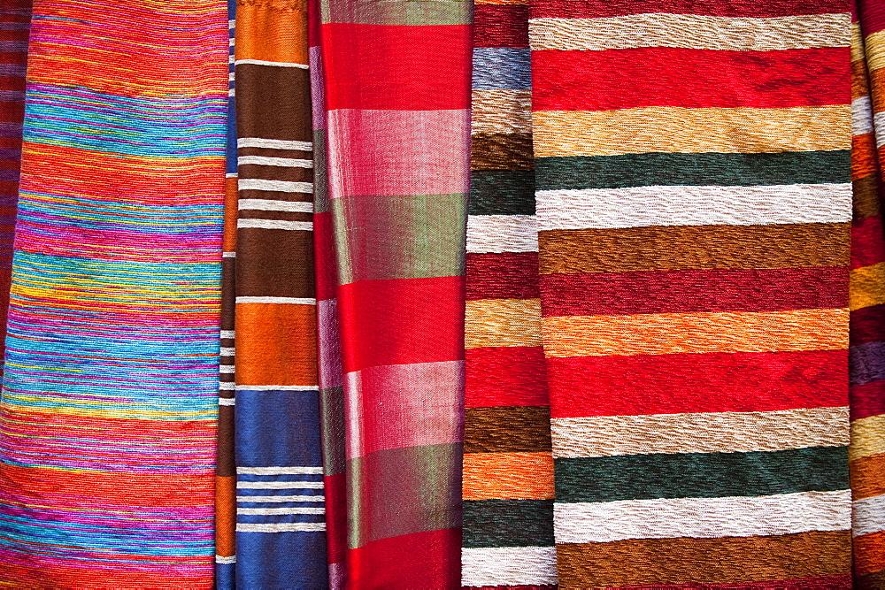 Silk fabrics, Medina, Fez, Morocco, North Africa, Africa