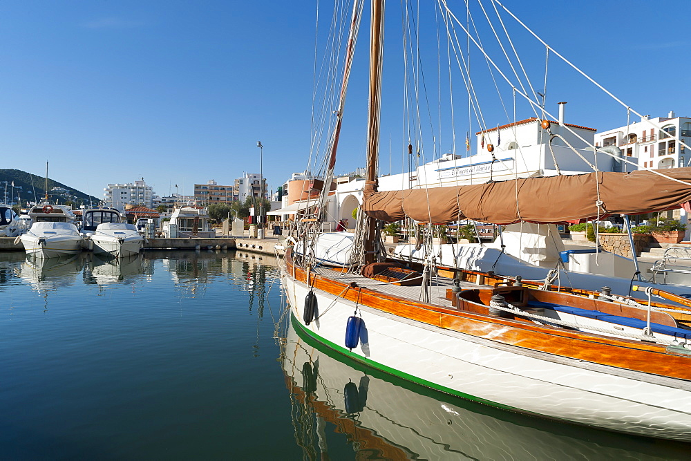 View of the boats, Marina, Santa Eulalia port, Ibiza, Balearic Islands, Spain, Mediterranean, Europe - 827-491