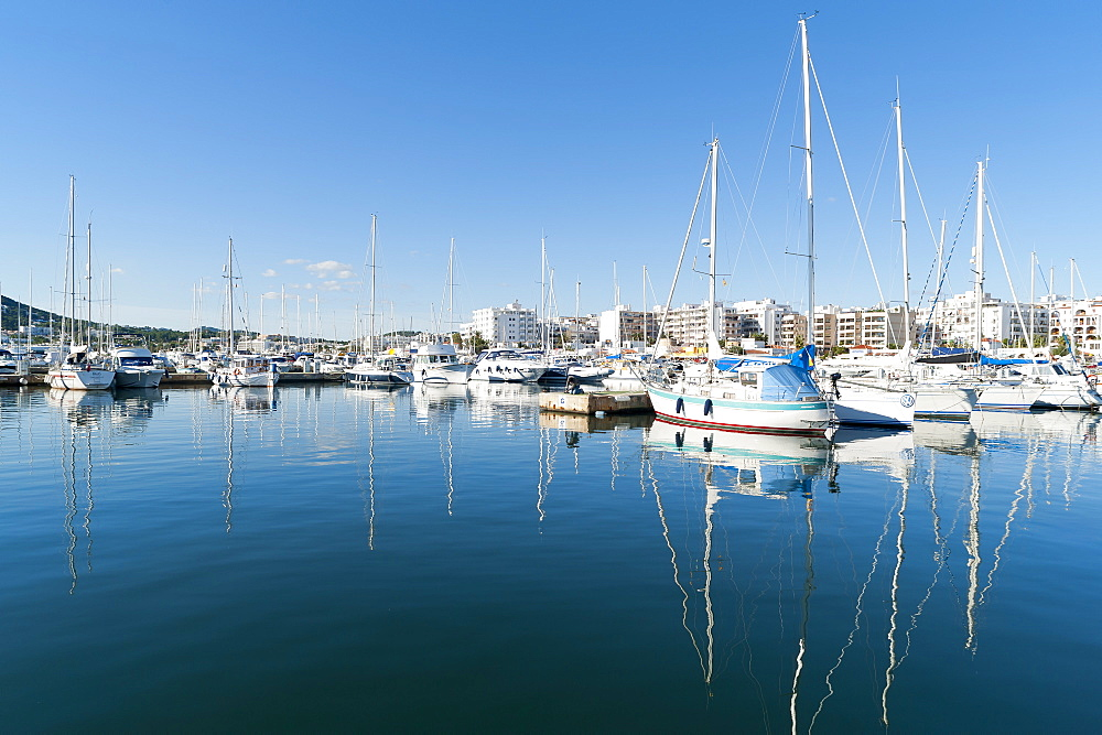 View of the boats, Marina, Santa Eulalia port, Ibiza, Balearic Islands, Spain, Mediterranean, Europe - 827-492