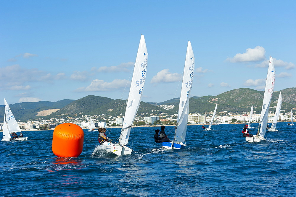 Sailboats participating in Regatta and buoy, Ibiza, Balearic Islands, Spain, Mediterranean, Europe - 827-499