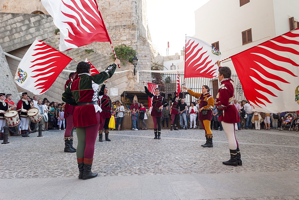 Flag bearers show, Ibiza cathedral, Medieval Party, Dalt Vila, Old Town, Ibiza, Balearic Islands, Spain, Mediterranean, Europe - 827-503