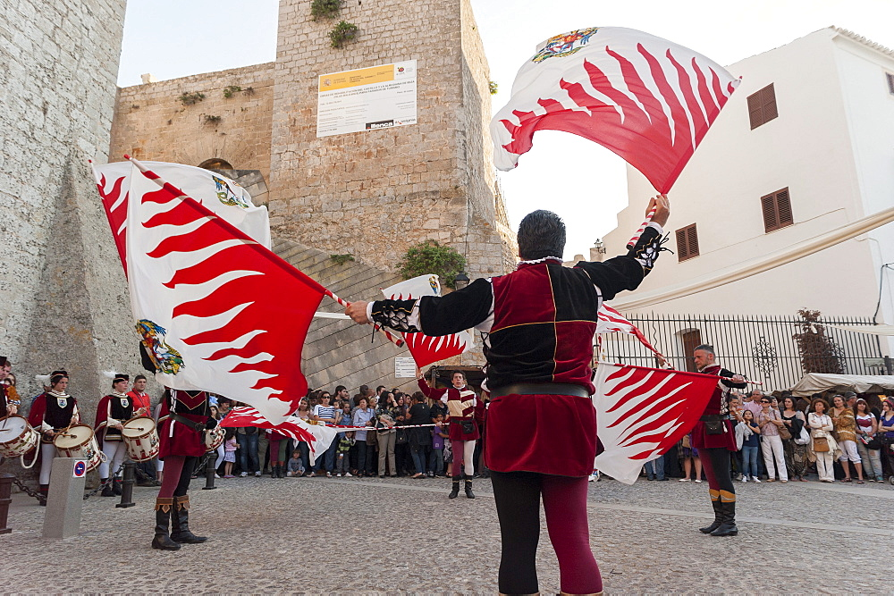 Flag bearers show, Ibiza cathedral, Medieval Party, Dalt Vila, Old Town, Ibiza, Balearic Islands, Spain, Mediterranean, Europe - 827-505