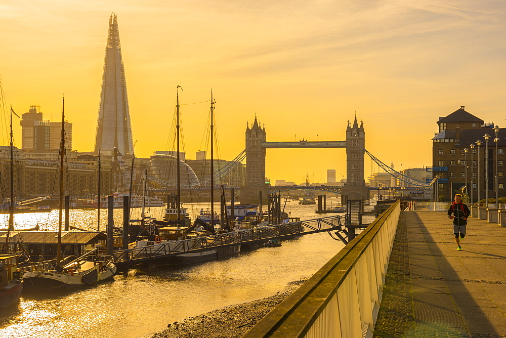 The Shard and Tower Bridge over River Thames, London, England, United Kingdom, Europe