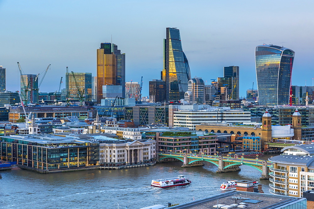 UK, England, London, City of London, Skyline, Tower 42, The Cheesegrater and Walkie Talkie Skyscrapers