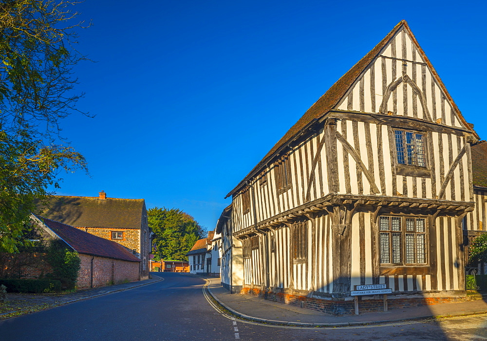 Corner of Water Street and Lady Street, Lavenham, Suffolk, England, United Kingdom, Europe - 828-1026
