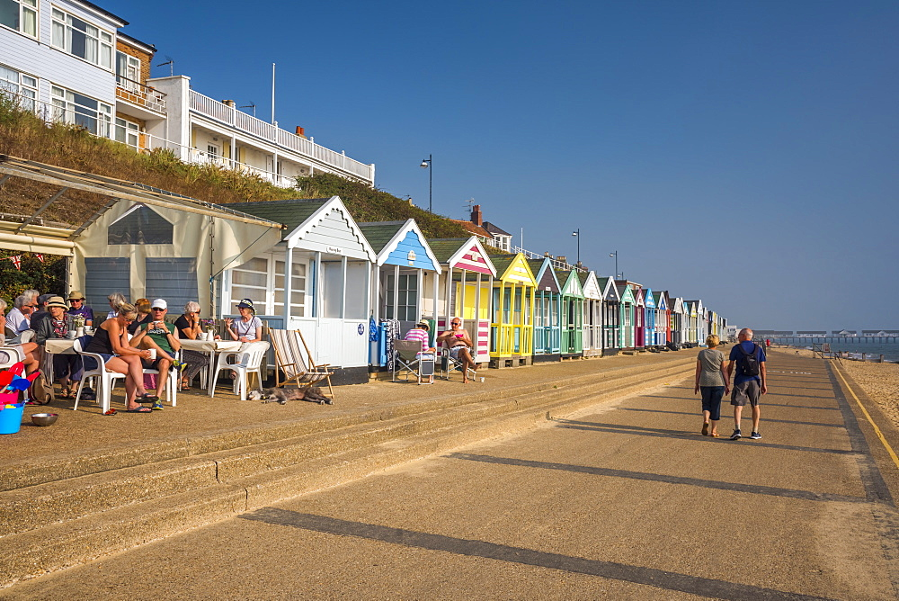 UK, England, Suffolk, Southwold, Promenade, Beach Huts