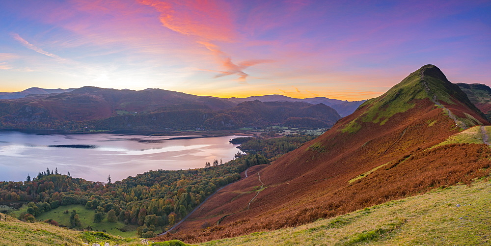 Cat Bells fell at sunrise, Derwentwater, Lake District National Park, Cumbria, England, United Kingdom, Europe - 828-1039