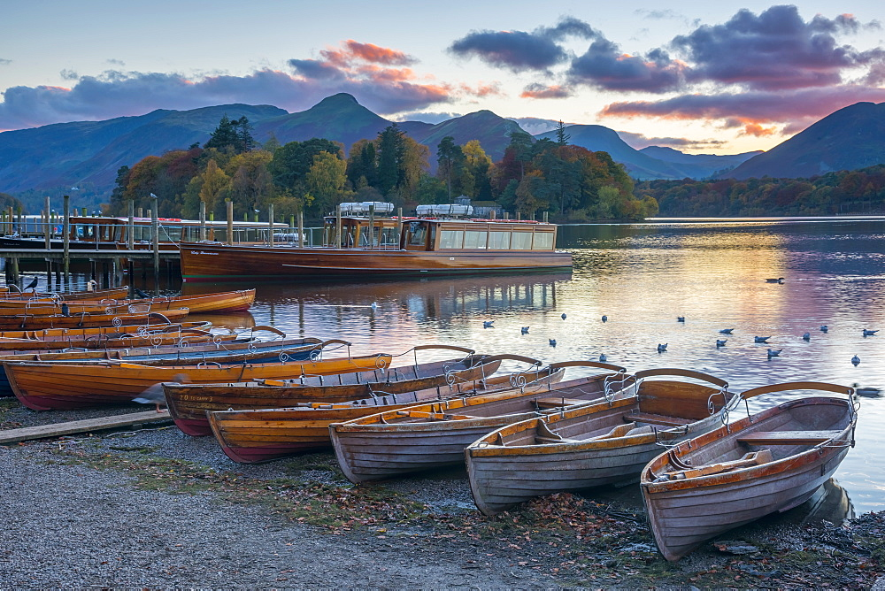 Rowing boats for hire, Keswick, Derwentwater, Lake District National Park, Cumbria, England, United Kingdom, Europe