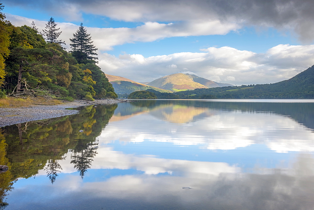 Reflections, Derwentwater, Lake District National Park, Cumbria, England, United Kingdom, Europe