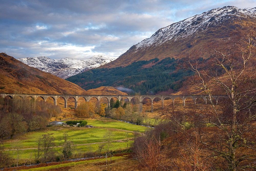 Glenfinnan Railway Viaduct, part of the West Highland Line, made famous in JK Rowling's Harry Potter, Glenfinnan, Loch Shiel, Highlands, Scotland, United Kingdom, Europe