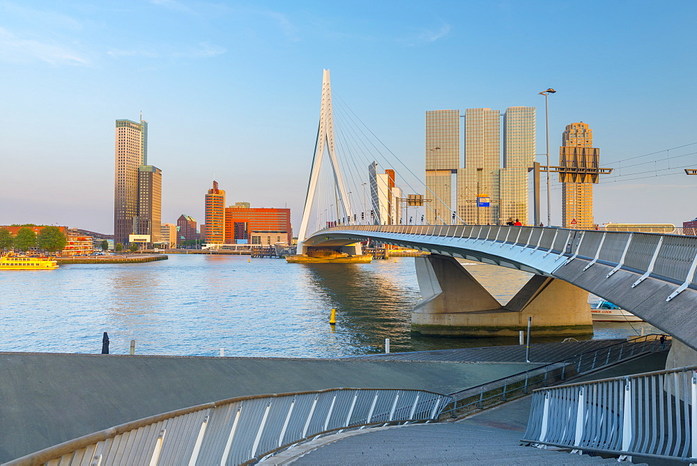 Erasmusbrug (Erasmus Bridge) and Wilhelminakade 137, De Rotterdam, The Rotterdam Building, Rotterdam, South Holland, The Netherlands, Europe - 828-1079