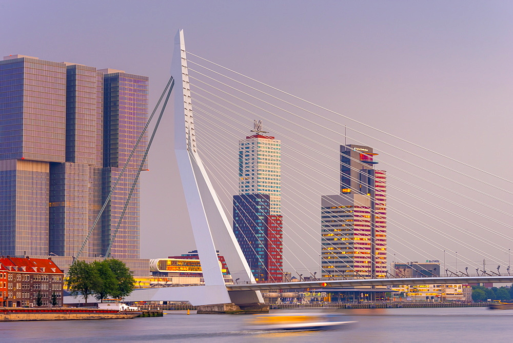 Erasmusbrug (Erasmus Bridge) and Wilhelminakade 137, De Rotterdam, The Rotterdam Building, Rotterdam, South Holland, The Netherlands, Europe - 828-1081