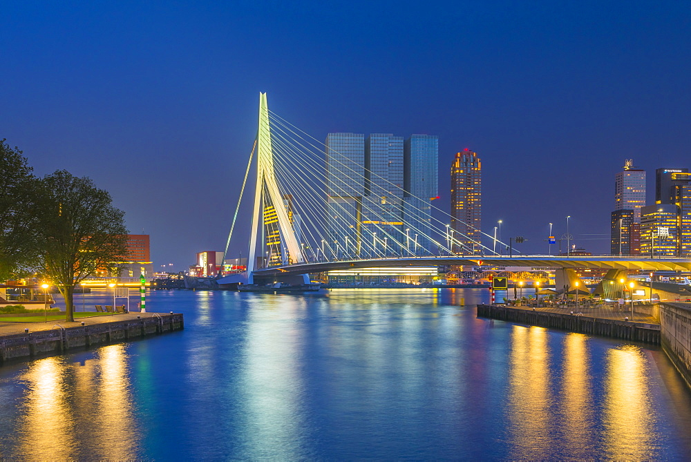 Erasmusbrug (Erasmus Bridge) and Wilhelminakade 137, De Rotterdam, The Rotterdam Building, Rotterdam, South Holland, The Netherlands, Europe - 828-1082