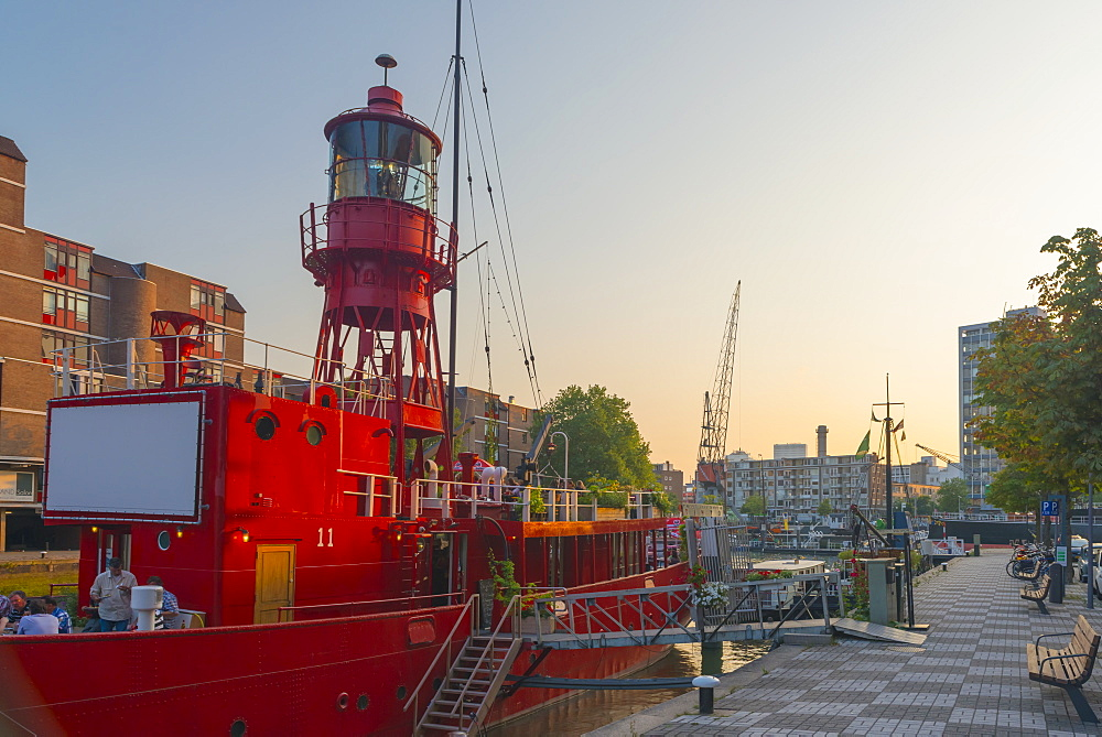 Lightship now used as a restaurant, Havenmuseum, Leuvehaven, Rotterdam, South Holland, The Netherlands, Europe - 828-1089