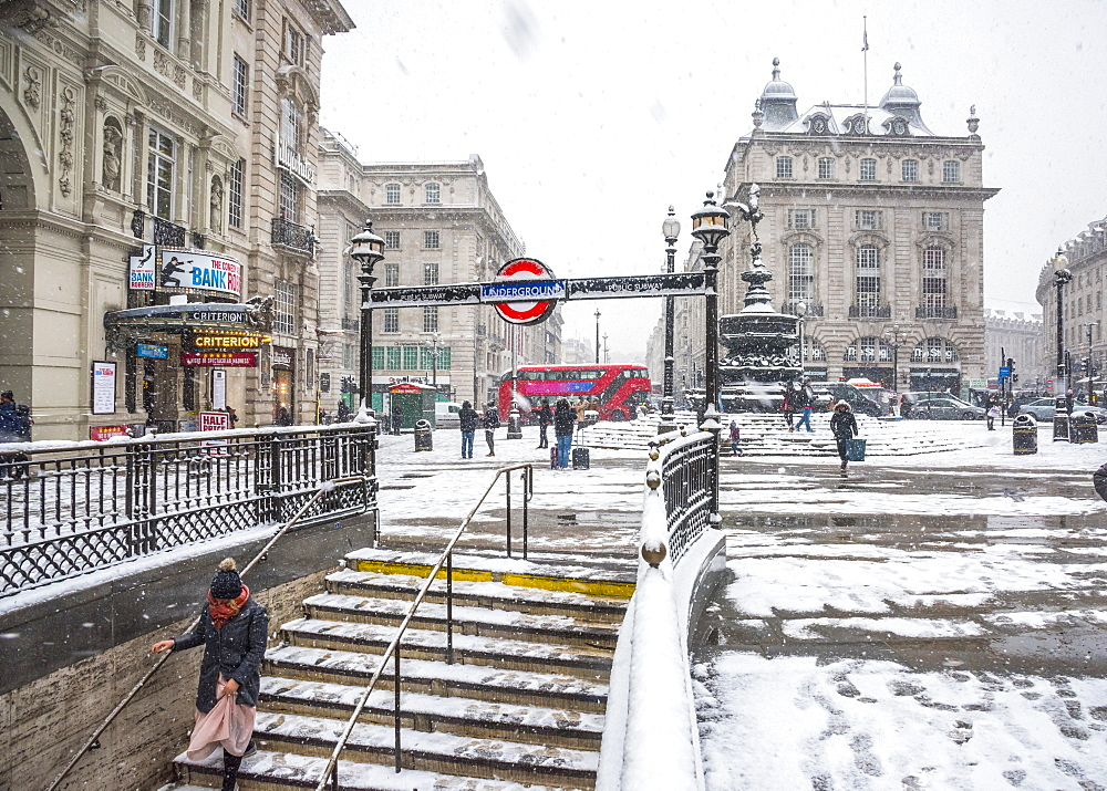 Underground Station entrance, snow storm, Piccadilly Circus, West End, London, England, United Kingdom, Europe - 828-1099