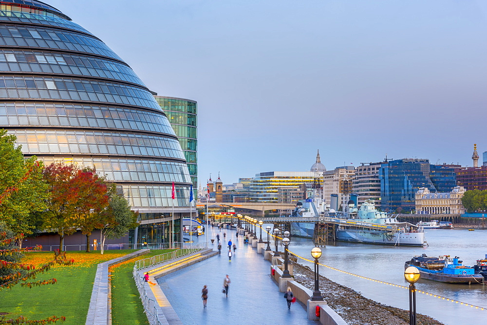 City Hall by River Thames, Southwark, London, England, United Kingdom, Europe