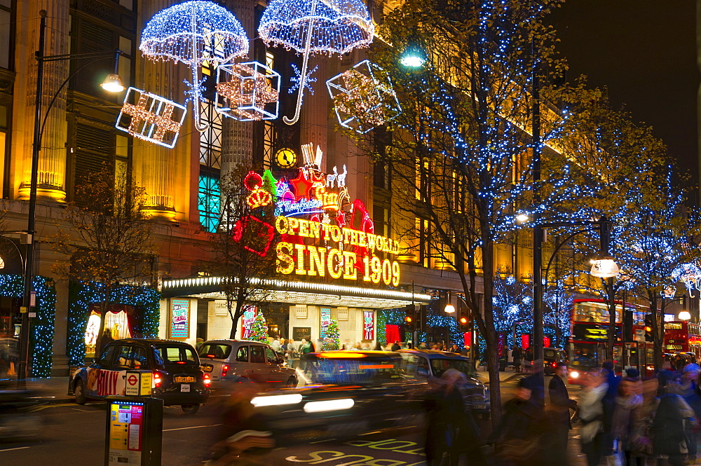 Selfridges and Christmas lights, Oxford Street, London, England, United Kingdom, Europe