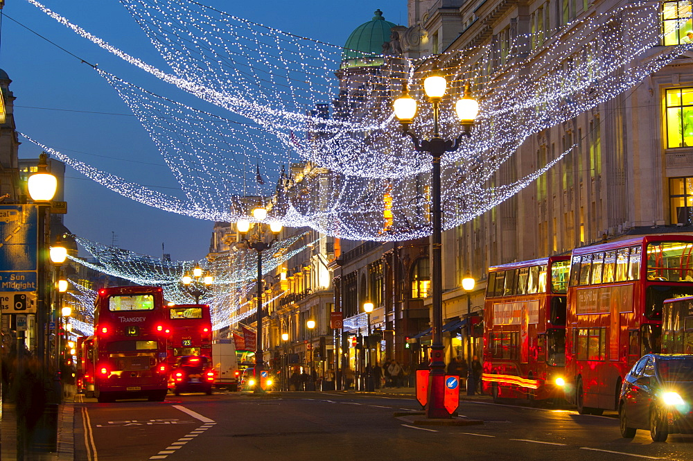 Christmas lights, Regents Street, London, England, United Kingdom, Europe