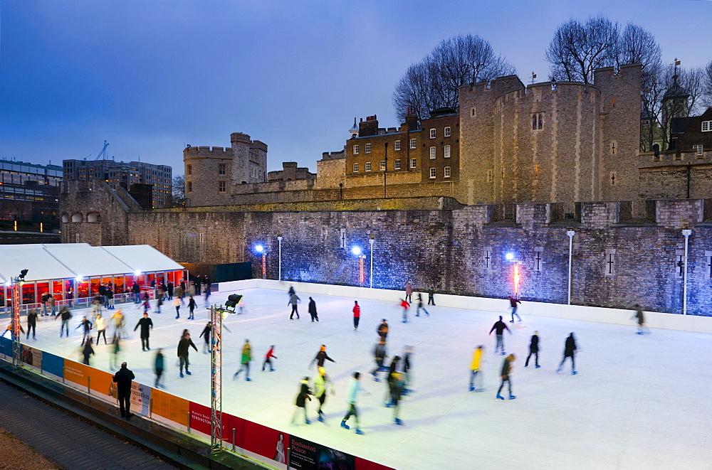 Winter ice skating, Tower of London, London, England, United Kingdom, Europe