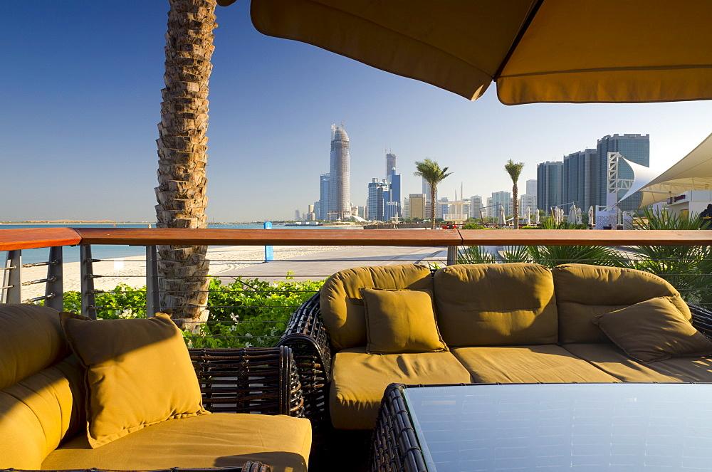 Beach and cafe, Corniche, Abu Dhabi, United Arab Emirates, Middle East